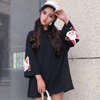 Preppy Style Loose Tops Japanese Harajuku Girl's Gothic Punk Long Sleeve T-Shirt