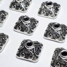 10pcs Antique Silver Square Bead Caps 10mm (Fits 9-14mm Beads) LN Free B04910