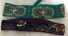 2 Sequinned Embellished Beaded Belts Accessorize & Miss Selfridge Small Medium