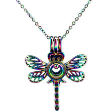 """C576 Rainbow Color Copper Dragonfly Pearl Beads Cage Necklace 18"""" For Wife Girl"""