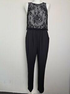 FOREVER NEW Black & White Lace Long Playsuit Romper Jumpsuit Women's Size 10