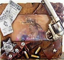 """Picture Frame Western Gun Revolvers Shell Badge Wanted Poster 4 """"x 6"""" photo"""