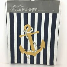 Anchor Canvas Table Runner Nautical Navy White Stripes Beach Sea Life House New