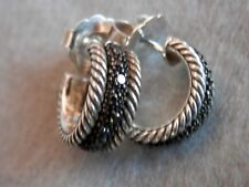 DAVID YURMAN Sterling Silver Huggie Pave Black Diamond Hoop Earrings