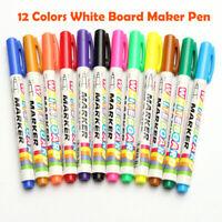 12x Whiteboard Marker Pen White Board Dry-Erase Mark Sign Fine Tip Ink 12 Color