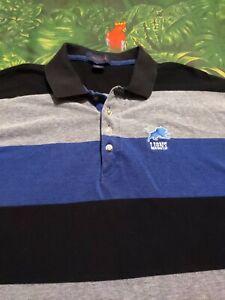 Vintage 90s Detroit Lions Antigua NFL Polo Shirt Men's 2XL XXL Rare Blue Black