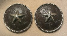 """2 - 1 1/2"""" Hand Engraved Rust / Brown Iron Conchos w/Heavy Rope Edge & Star"""