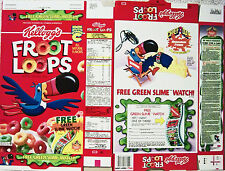 1992 Slime Watch Froot Loops Cereal Box unused factory shaped Flat s303