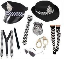 Women's Men's Fancy Dress Police Cop Hat Tie Socks Badge Handcuffs Glasses Fun
