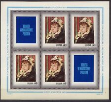 POLAND 1971 **MNH SC#1839/45+B123 SHEETS, Stamp Day - Woman in Polish painting.