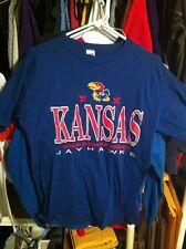 Vintage Cool KU Kansas Jayhawks Blue T Shirt Wolf Size L MARCH MADNESS
