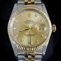 Rolex Two-Tone 18K Gold/Stainless Steel Datejust Champagne FACTORY Diamond 16013