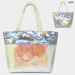 Love of Fashion Women's Pink Multicolor Mermaid Scales Beach Tote Bag Iridescent