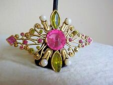 GOLDTONE METAL DIAMOND SHAPED BROOCH W/FAUX PEARL/GREEN STONES/PINK STONES