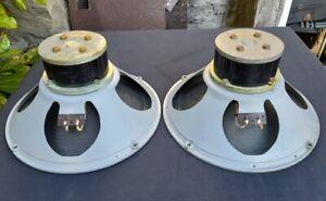 """Rare Pair Goodmans 12"""" BLACK Alnico Magnet Speakers Excellent Condition"""