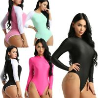 Women Turtle Neck Bodysuit Long Sleeve Leotard Plain Stretch Basic Top Swimsuit