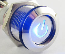 10pcs 16mm Metal Latching Switch Flat with Blue LED Power illuminated Symbol