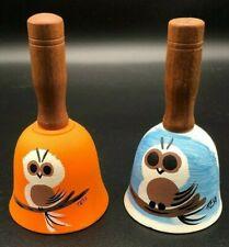Vintage Tesa Owls Hand-Painted Pottery Bell 2 Total Southwestern Orange & Blue