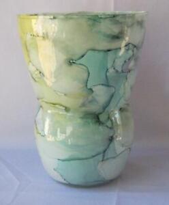 Genuine Italian Art Glass Urn Vase Franco Italy Pastel Lime Green Color No 718