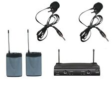 Professional UHF Dual Channels Radio Wireless Lavalier Clip-on Microphone