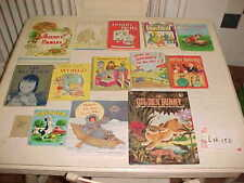 Lot 14 Vintage Hardcover Children Golden Bunny Aesop Fable Dumb Bells Smurf Wet