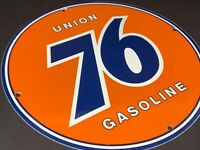 "VINTAGE ""UNION 76 GAS"" 11 3/4"" PORCELAIN METAL GASOLINE & OIL SIGN!! PUMP PLATE"