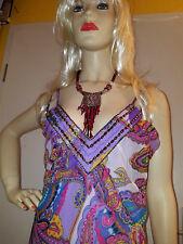 NEU LISA MALO 36 38 lang Seide violett Pasley Perlen bestickt Dame Kleid TOP K04