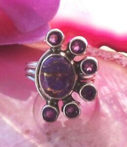Rx Ring Bloom Turquoise Copper Purple Amethyst Sterling Silver 925 Size 18,4