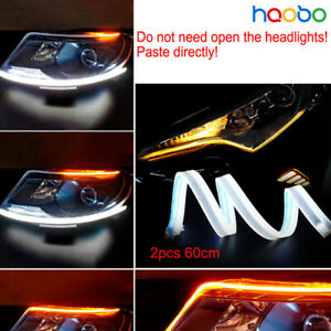 2X 60cm Car LED DRL Fog Strip Daytime Running Lamp Side Flowing Turn Signal lamp