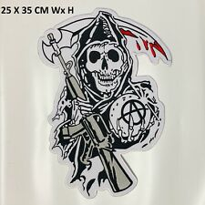 Sons Of Anarchy Skull Fear the Reaper Biker Back Patch Motorcycle Vest XL Jacket