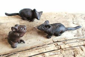 3 MÄUSE Gusseisen Gartendeko mouse mice 6-13 cm Gartenteich Dekomaus Dekorativ