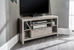 Concrete Finish Corner TV Stand Media Unit Drawer Open Storage Cable Management