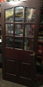 Solid Mahogany Exterior Door With Double Glazed Glass Panels