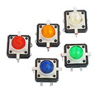 5X LED Tactile Push Button Switch Momentary Tact 12X12 4pin Round Cap 5 color