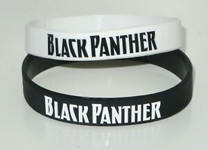 Black Panther Text and Logo Black & White Silicone Bracelet Set of 2 Wristbands