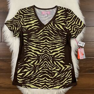 Koi Women's Size Small Brown Tiger Animal Print Raquel Scrub Top Pockets Stretch