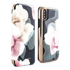 OFFICIAL Ted Baker KNOWIT Mirror Folio Case for iPhone X - Porcelain Rose Black