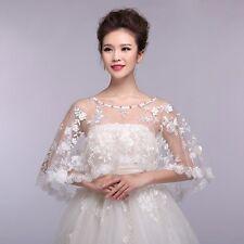 New Bride Shawl Wrap Lace Shrug Wedding Jacket Bolero Rhinestone Stole Cape