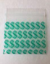 200 (1.5x1.5) Green Money, Small Dollar Sign Baggies 1515 Tiny Ziplock Dime Bags