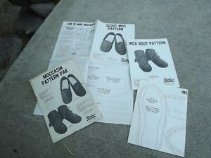 Vintage Tandy Moccasin Pattern pak 2 patterns Inca boot & Scout moc uncut