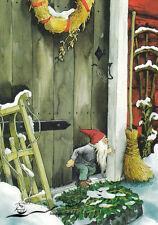 Postkarte Winter Schnee Inge Löök - Zwerg vor der Haustüre / Nr. 216