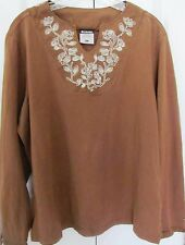 COLUMBIA-XL Pullover Distressed Brown Blouse-Embroidered Collar