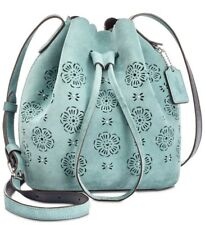 New Coach 25193 Suede Mini Bucket Bag 16 with cut out Tea Rose drawstring Marine