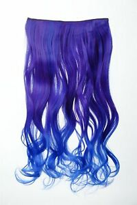Extension Hair Clip-In 5 Clip Curly Bi-Coloured Ombre Blue 19 11/16in Long