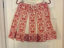 Sophie Max Studio White w/Red Embroidered Pleated Drawstring Skirt XSmall NWT