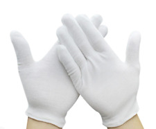 12 Pairs White Cotton Gloves for Cosmetic Moisturizing Coin Jewelry