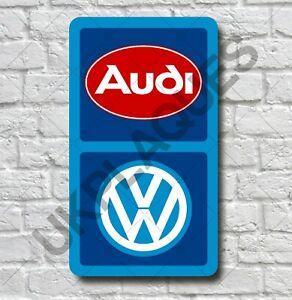 AUDI VW 2FT GARAGE WALL SIGN PLAQUE CLASSIC WORKSHOP AUTOMOBILIA MAN CAVE VAG