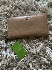 NEW Kate Spade Pink Glitter Neda Zip Around Wallet Rose Gold Mavis Street Clutch
