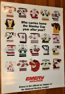 VINTAGE NHL POSTER~1982 Original Stanley Cup 21 Jerseys Leafs/Nordiques/Whalers~