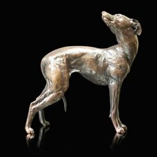 Whippet Dog Standing Solid Bronze Foundry Cast Sculpture Michael Simpson [1070]